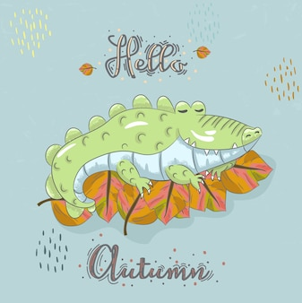 Cute baby aligator cartoon hand drawn