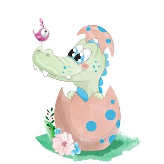 Милый ребенок аллигатор в яйце акварельный рисунок
