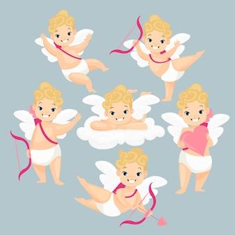 Симпатичные детские амурские герои мультфильмов love cupids с крыльями и розовыми стрелами, летающими в облаках