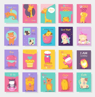 Cute baby animal card cartoon hand drawn style