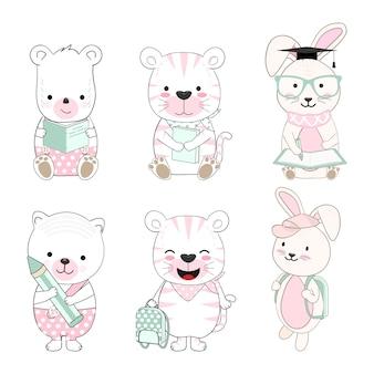 Cute baby animal cartoon back to school set