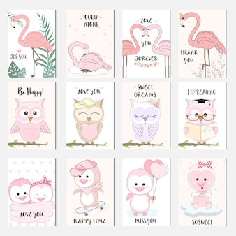 Cute baby animal cartoon bird card set