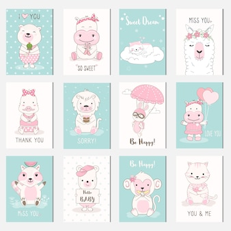Cute baby animal cartoon card set