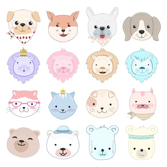 Cute baby animal cartoon character set illustration