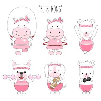 귀여운 아기 동물 만화 운동 세트