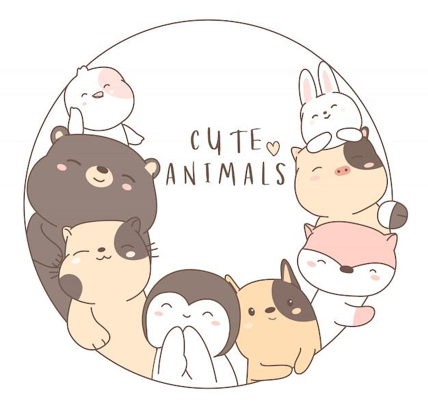 かわいい赤ちゃん動物漫画手描きスタイル