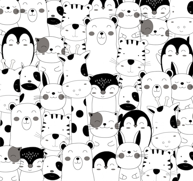 The cute baby animal cartoon pattern in black and white