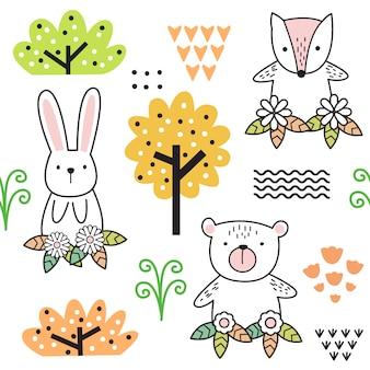Cute baby animal cartoon seamless pattern