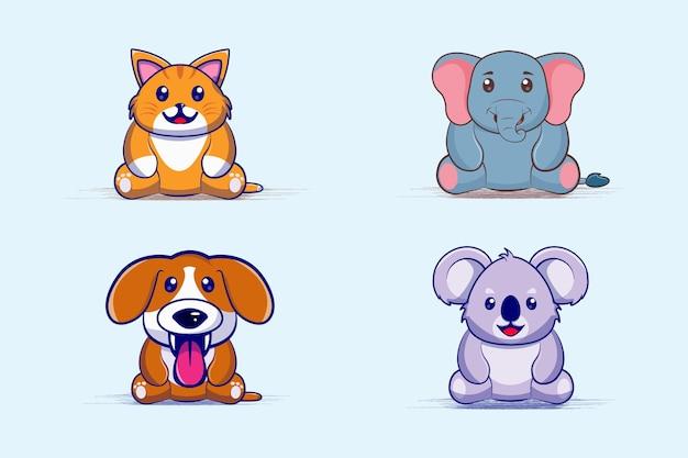 Cute baby animal cartoon set