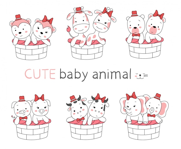 The cute baby animal cartoon with basket on white