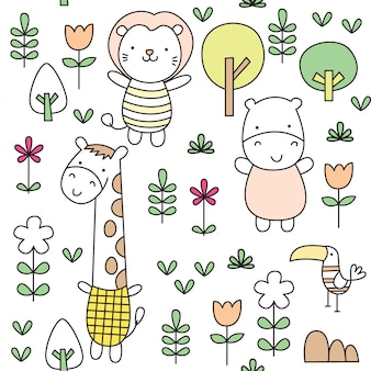 かわいい赤ちゃん動物の落書きのシームレスなパターン