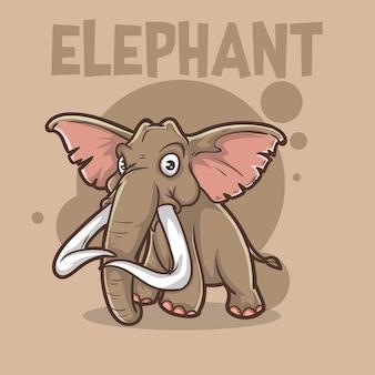 귀여운 아기 동물 코끼리 야생 동물 마스코트 만화 로고 문자 편집 가능