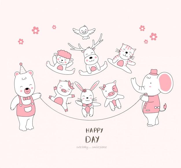 The cute baby animal enjoy life. cartoon sketch animal style