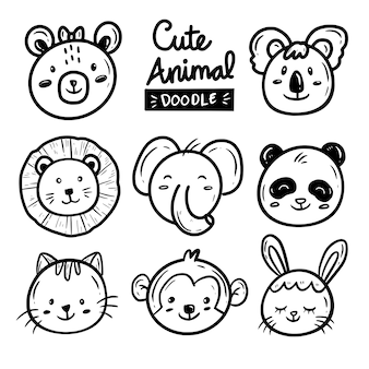 Cute baby animal face drawing doodle