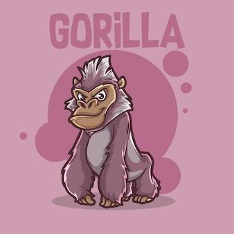 귀여운 아기 동물 고릴라 원숭이 야생 동물 마스코트 만화 로고 문자 편집 가능