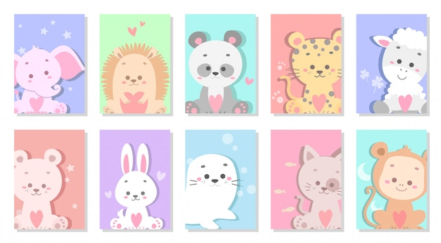 Cute baby animal greeting card vector illustration