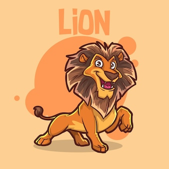 귀여운 아기 동물 사자 큰 고양이 원숭이 야생 동물 마스코트 만화 로고 문자 편집 가능