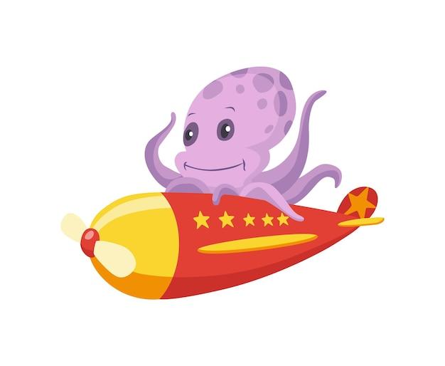 Милый ребенок осьминога животных на самолете. забавный пилот, летящий на самолете. мультяшный векторный характер летать на ретро-транспорте