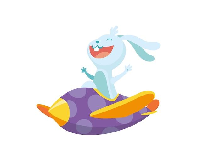 비행기에 귀여운 아기 동물 토끼입니다. 비행기를 타고 다니는 재미있고 행복한 조종사. 만화 벡터 캐릭터