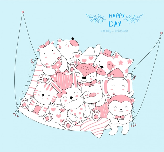 The cute baby animal relax and happy to everyday. cartoon sketch animal style