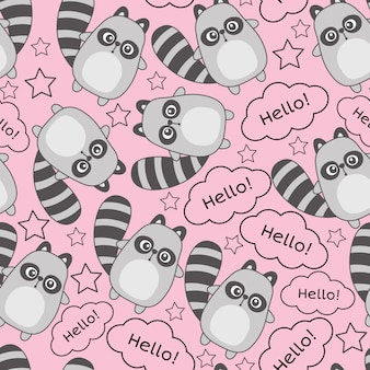 Cute baby animal seamless pattern