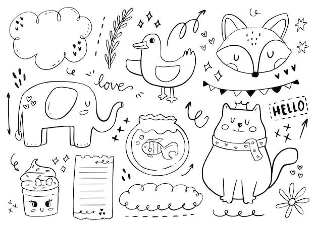 귀여운 아기 동물 스티커 개요. 고양이, 코끼리, 여우 흰색 배경 그림 그리기