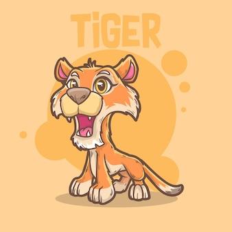 귀여운 아기 동물 호랑이 큰 고양이 야생 동물 마스코트 만화 로고 문자 편집 가능