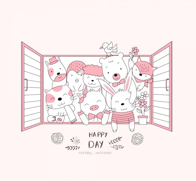 The cute baby animal on window. cartoon sketch animal style