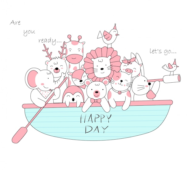 The cute baby animal with boat.