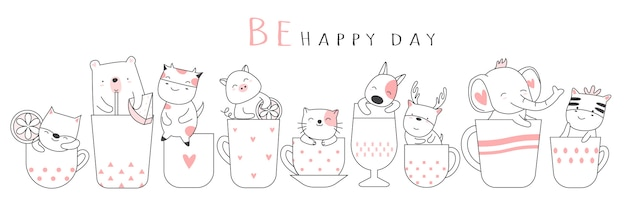 Cute baby animal with cup cartoon hand drawn style