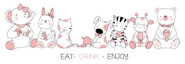 Cute baby animal with eat, drink, enjoy, cartoon hand drawn style