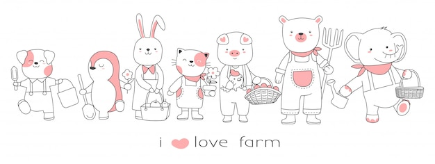 Cute baby animal with the farm cartoon hand drawn style