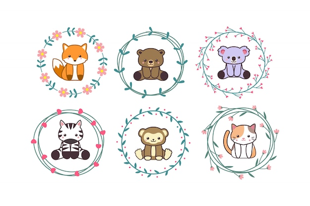 Cute baby animal with floral wreath  cartoon hand drawn style