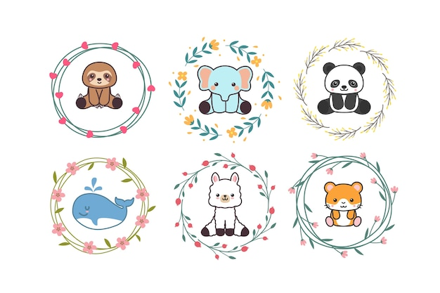 Cute baby animal with floral wreath or flower border cartoon hand drawn style
