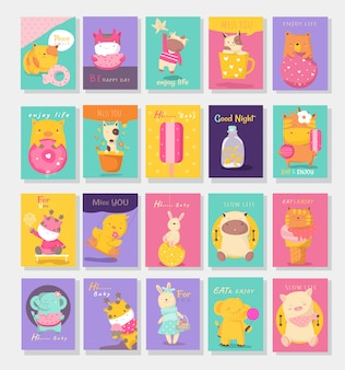 Cute baby animals card cartoon style