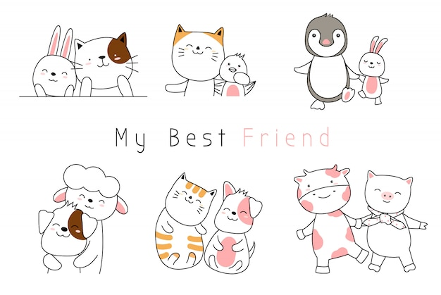 Cute baby animals cartoon hand drawn style