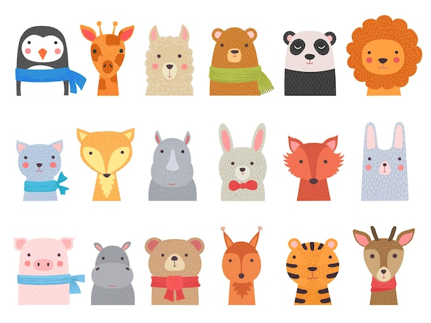 귀여운 아기 동물. 어린이 재미 야생 알파벳 동물 하마 여우 곰 손으로 그린 컬렉션. 그림 귀여운 여우와 기린, 캐릭터 고양이와 하마