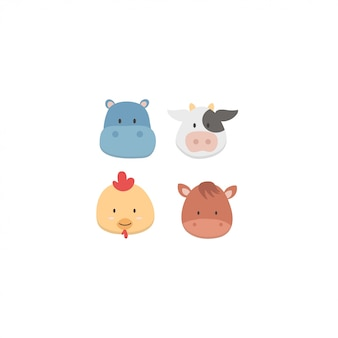 Cute baby animals face set
