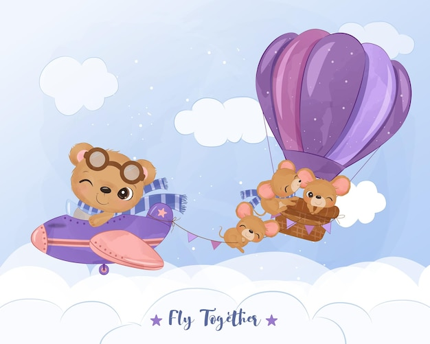 Cute baby animals flying together in watercolor illustration