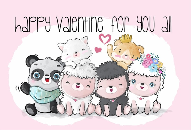 Cute baby animals happy valentine day seamless pattern