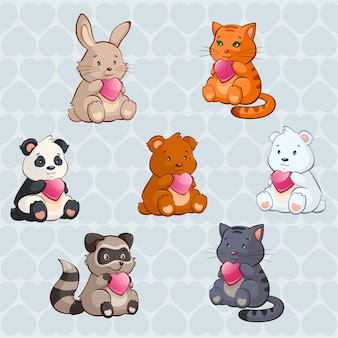 Cute baby animals holding hearts valentine day illustration