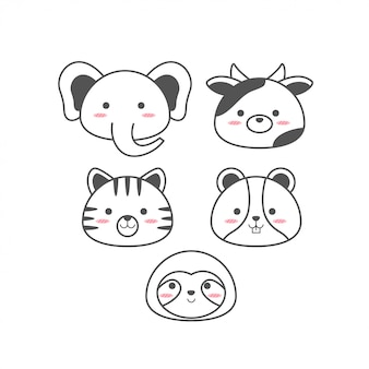 Cute baby animals line