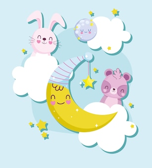 Cute baby animals and moon