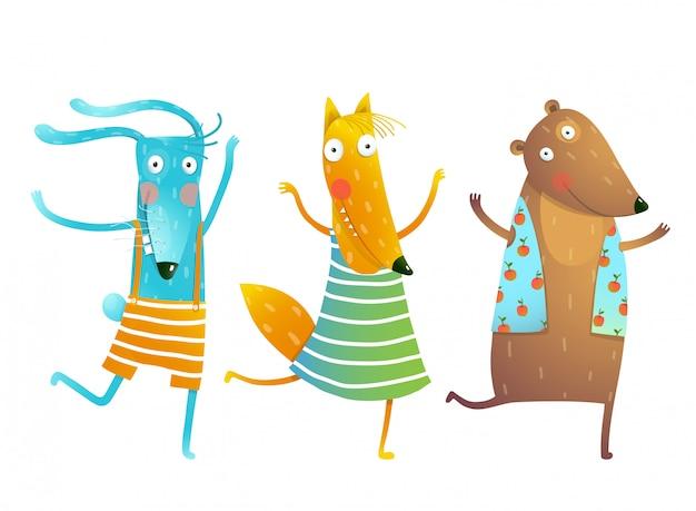 Cute baby animals кролик фокс медведь танцующие или играющие детские персонажи в одежде
