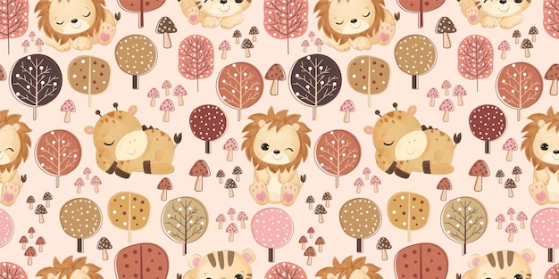 Cute baby animals in seamless pattern