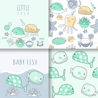 Cute baby animals seamless pattern