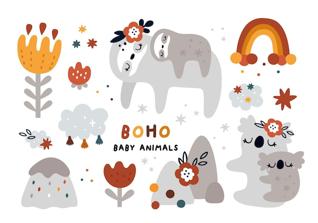 Cute baby animals set in boho style
