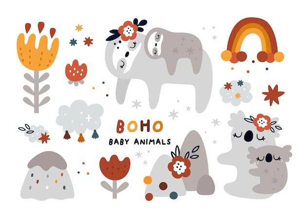Boho 스타일로 설정된 귀여운 아기 동물
