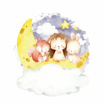 Cute baby animals sitting on the moon watercolor illustration