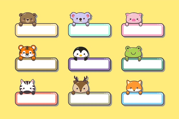 Симпатичные детские животные с именем этикетки мультфильм рисованной шаблон стиля